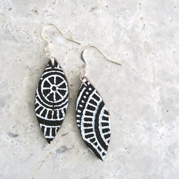 Tribal Leather Earrings, Boho Leather Jewellery, Sterling Silver Ear Wires, Ethnic Drop Earrings, Birthday Gift for Friend