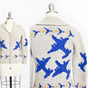 Vintage Cowichan Sweater -  Wool Knit Beige Airplane Novelty  Zip Cardigan - Extra Small XS