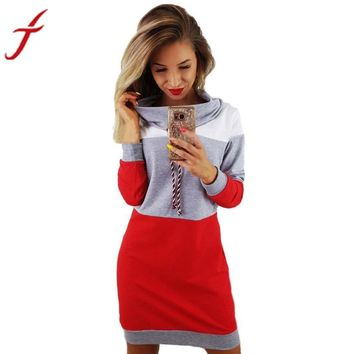 Fashion Autumn Dress Women Collared Long Sleeve Dress Ladies Casual Bodycon Short Mini 3 Colors Patchwork Cotton Winter vestidos