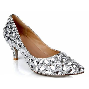 Rhinestone Ankle Stiletto Heel Patent Leather Pumps
