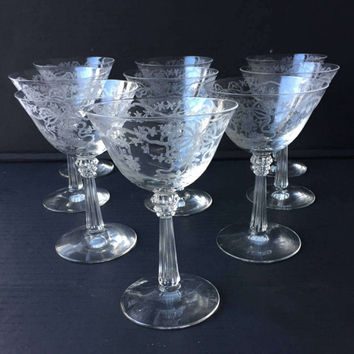 Fostoria Romance Crystal Champagne Glasses Set of 9 Vintage Crystal Etched Champagne Coupes