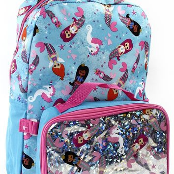 Fall Back To School  Mermaid 16 in Backpack With Lunch Kit