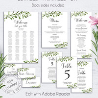 Wedding Suite Template Download, Printable Menu Template, Wedding Reception, Wedding Place Cards, Wedding Programs, Wedding Template