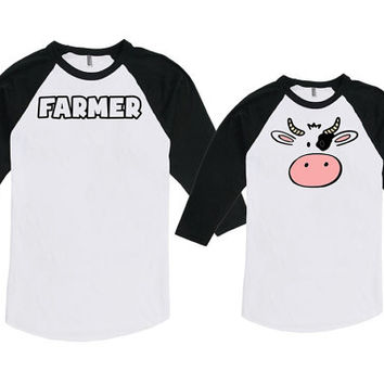 Matching Father And Baby Dad And Daughter Gifts For Dad Father Son Shirts Farmer And Cow Bodysuit American Apparel Unisex Raglan MAT-736-738