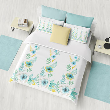 Blue and White Floral Duvet Cover or Comforter,  Blue, gold, green flowers twist, clean spring beautiful, bedroom decor refresh
