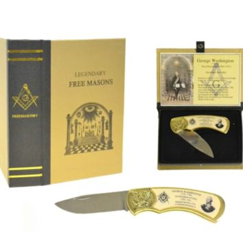 George Washington Masonic Folding Knife with 3 inch Drop Point Blade