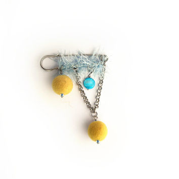Yellow felt beads safety pin brooch, blue and white yarn, fiber brooch