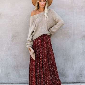 Calistoga Pocketed Tiered Floral Maxi Skirt