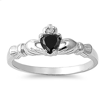 925 Sterling Silver CZ Benediction of the Claddagh Black Ring 7MM