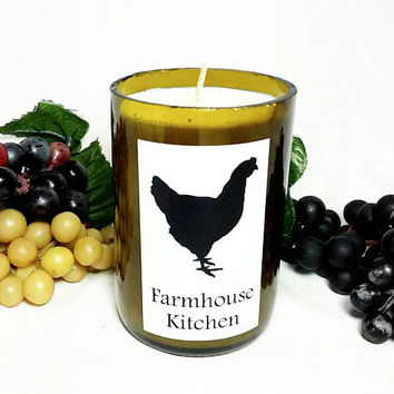 Wine Bottle Candle/Chicken Farmhouse Kitchen Soy Wax Candle/Recycled Glass Bottle Candle/Fresh Brewed Coffee Scent/Country Farm Chic Decor