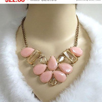 SALE Pink & Topaz Glass Cabochons Bib Necklace Vintage