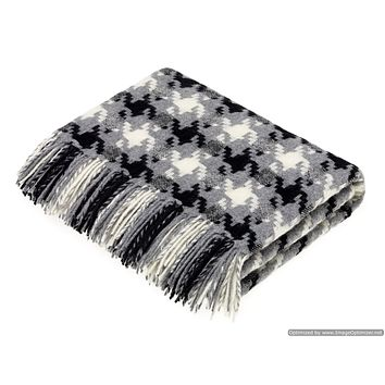 Merino Lambswool Throw Blanket - Houndstooth - Charcoal, Made in England