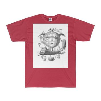Adult 20/1's Surf Tee with Hot Air Balloon Flying Airship Art Print