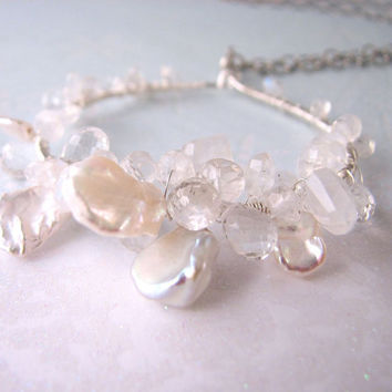 White Pearl necklace sterling silver gemstone by shadowjewels