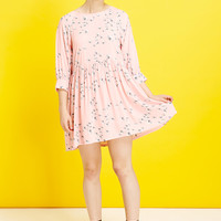 Button-Cuff Angel Dress in Floral Print