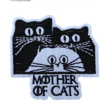 Mother of Cats Iron / Sew On Embroidered Patch Badge Embroidery Feline Motif | eBay