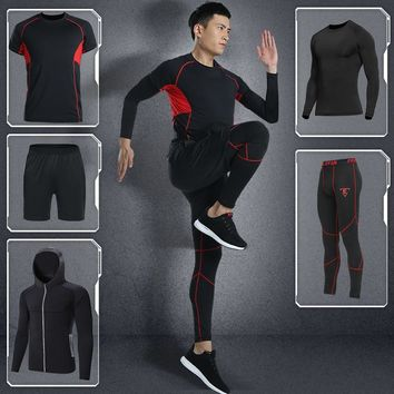 LEFAN New Quick-dry Fitness Sets Men Bodybuilding Gym Sportswear Clothes Sets Male Training Running Tracksuits Sport Suits 5pcs