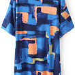 Blue Abstract Print Short Sleeve Shirt Dress