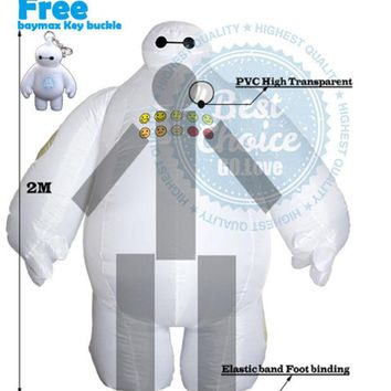 DCCKHY9 Halloween Big Hero 6 Inflatable Baymax Costume for Women or Men Adult Fancy Suit Mascot Baymax 2m Large Mascot Cosplay