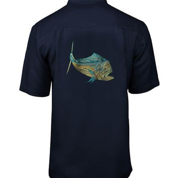 Men's Bull Dolphin Embroidered Fishing Shirt
