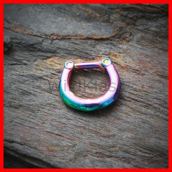 Rainbow Septum Ring Clicker PVD Plated Smooth Basic Septum Clicker Septum Ring Septum Jewelry Septum Piercing Belly Button Ring Navel Ring