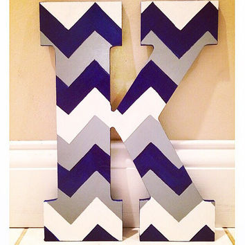 Chevron Hand painted letter 13""