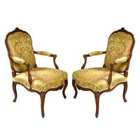 Pair of French Louis XV Style Walnut Chairs