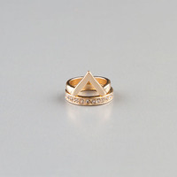 Full Tilt 2 Piece Triangle/Rhinestone Midi Rings Gold One Size For Women 23171162101