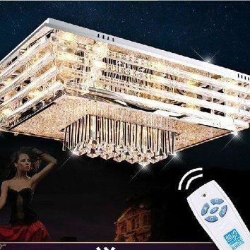 Modern K9 Luxury LED  Living Room Bedroom Crystal Rectangle  Ceiling Lighting