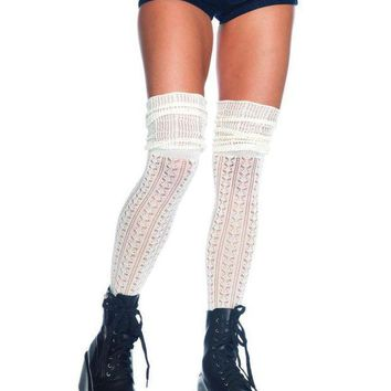 MDIGH3W Acrylic pointelle over the knee scrunch sock in IVORY