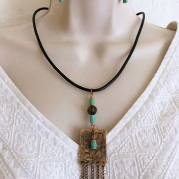Bohemian Necklace and Earrings set, Shabby Chic Necklace set, Statement Necklace set, Magnesite Stone Necklace, Gift for her