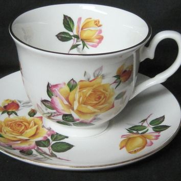 Yellow Rose English Bone China Tea Cups Set of 2