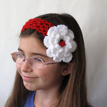 Girls Crochet Headband with Flower and Ladybug