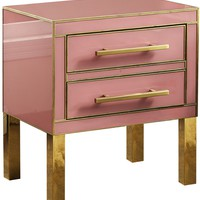 Agneta Pink Nightstand With Gold Details