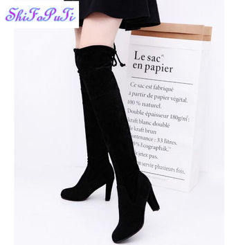 2017 Women Stretch Scrub leather High Boots Sexy Fashion Over the Knee Boots High Heels Woman Shoes Botas Mujer 8cm high heel