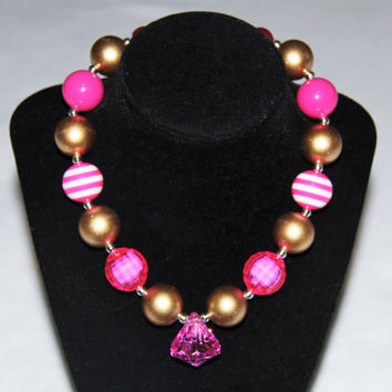 Hot Pink & Gold Chunky Beaded Gumball Necklace, Toggle Clasp
