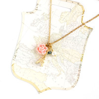 Eiffel tower necklace Paris jewellery French charm necklace Paris gold eiffel tower la Vie en rose