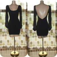 Vintage 90s Deep Plunge Open Back Sheer Sleeve Black Jersey Mini Dress Body Con S/ XS