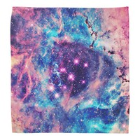 Trendy Pastel Pink Blue Nebula Girly Stars Galaxy Bandana