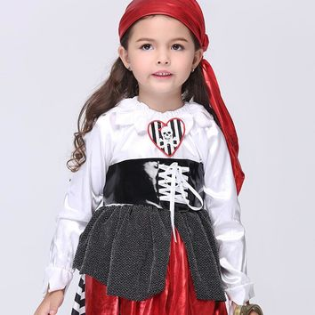 2017 Kids Halloween Pirate Costumes Girls Party Cosplay Costume for Children Kids Performance Clothes Anime Cos Outfits Pirate
