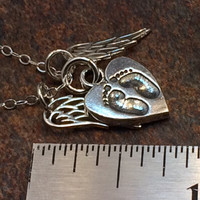 Baby Memorial Necklace, Memorial Jewelry, Memorial Necklace, Memorial Gift, Remembrance Jewelry, Remembrance Gift, Angel Wing Necklace