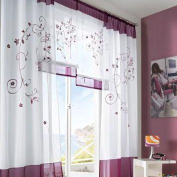 1 piece Embroidered Window Curtain Home Garden 3 Colors 4 sizes Curtain Home Decoration