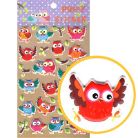 Owl Bird Animal Themed Puffy Stickers for Scrapbooking and Decorating