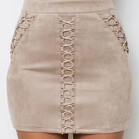 Gray High Waist Faux Suede Lace Up Mini Skirt