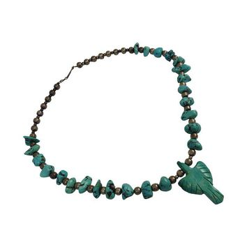 Pre-owned Turquoise Silver Beads Thunderbird  Necklace