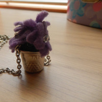Purple flower pot necklace - Eco-friendly Spring accessory - handmade One of a Kind - Ready to ship - recycled - for teen girls and women