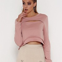 Women Casual Simple Solid Color Hollow Hem Stitching Long Sleeve Pullover Sweater Tops