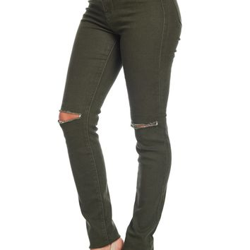High Rise Olive Chino Jeans*