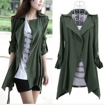 New 2015 Spring Autumn Fashion Women Cardigan Slim Long Style Plus Size Trench Coat Loose Outerwear For Women Clothing