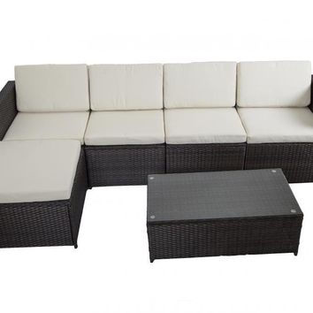 6 PCS Outdoor Patio Sofa Set Sectional Furniture PE Wicker Rattan Deck Couch F3